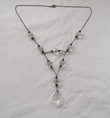 Beautiful Art Deco Necklace with Black & Clear Glass Beads Czech