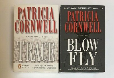 Lot of 2 Patricia Cornwell Unabridged Audio Books Cassette Tapes Trace Blow Fly