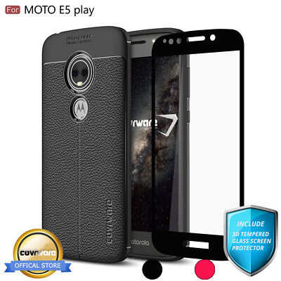 COVRWARE® Moto E5 PLAY, TPU Leather Case with Tempered Glass Screen Protector