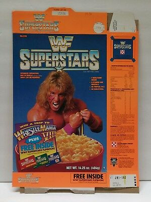 1991 WWF SUPERSTARS Empty Cereal Box  The Ultimate Warrior   good old days !!!!