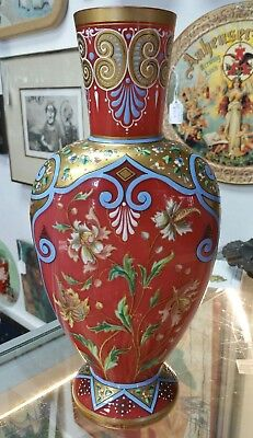 Antique Late 19th Century Moser Glass Alhambraesque Vase with Floral Motifs