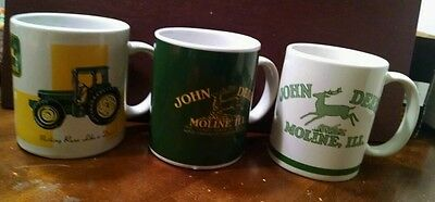 3 John Deer Nothing Runs Like a Deere Coffee Mugs cups Tractor Gibson Moline Cup