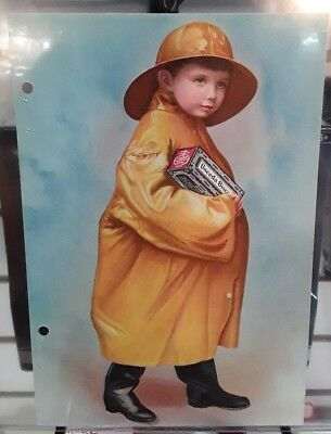 Early 1900s nabisco ad vintage picture of little boy in yellow raincoat