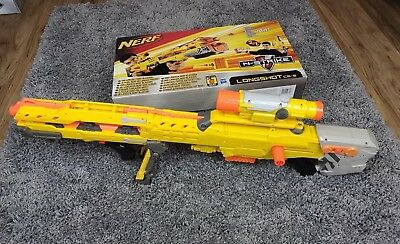 NERF N-Strike Longshot CS-6 Extendable Barrel, Cartridg, Scope In Original Box