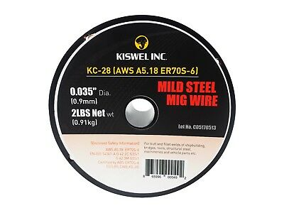 "ER70S-6 .035"" 0.9MM Dia 2 lbs. Mild Steel Mig Copper Coated Solid Wire"