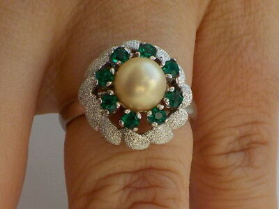 Vintage Silver Ring With Faux Pearl And Green Stones Metal Detecting Find