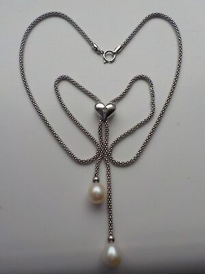 Silver And Pearl Drop Necklace With A Bling Heart Metal Detecting Find