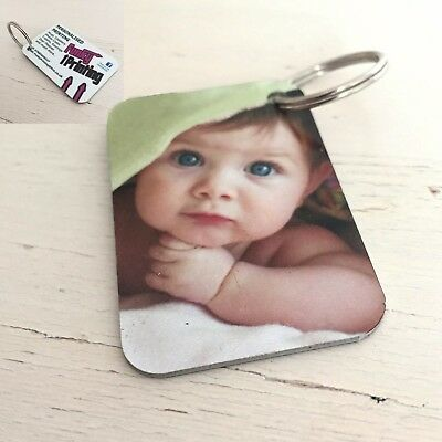Personalised Photo Key Ring, Custom Gift, Double Sided Any Image Promo Logo Text