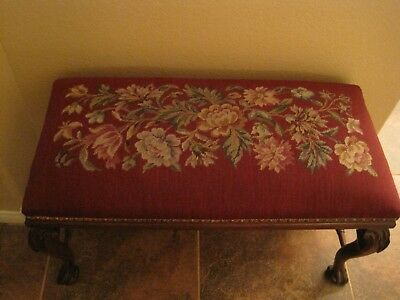 Vtg Antique Piano Bench/Footstool with Needlepoint Wine Seat