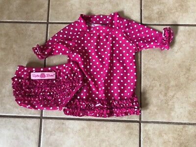 Ruffle Butts Pink Polka Dot Girls 2 Piece Swimsuit 12-18 Months