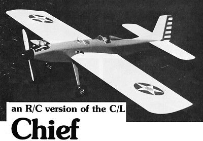 """Model Airplane Plans (RC): Chief 52½"""" for .30-.40 engine (R/C ver of Palmer C/L)"""