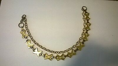 "vintage women's boho gypsey gold and silver toned chain belt 44"" approx"