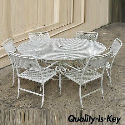 """Vtg 7 Piece Cast Aluminum Scroll Arm Metal Patio Dining Set 60"""" Table & 6 Chairs"""