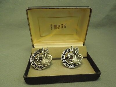 Fantasy Gothic Winged Dragon Serpent Vintage Cufflinks Silver Tone
