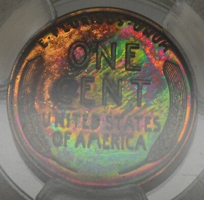 Rainbow Toned 1956 Lincoln Proof Cent - PCGS PR64RB