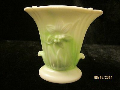 Vintage Akro Agate Co. Slag Glass Vase #658 Daffodil Green 1950