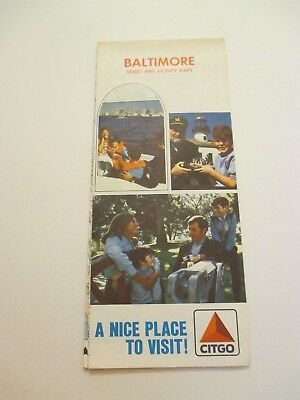 1973 Citgo Baltimore Maryland MD City Street Oil Gas Station Road Map