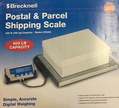 Brecknell  LPS-400 Portable Digital Shipping Scale, 400 lb x 0.2 lb,Plate 15x12""