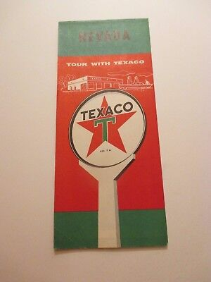 Vintage 1959 TEXACO Nevada Oil Gas Service Station Road Map