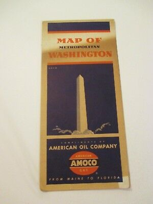 Vintage AMOCO Washington DC City Street Oil Gas Service Station Road Map