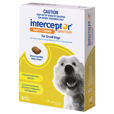 Interceptor Spectrum 6-pc Worming Treatment Chews For Small Dogs 4-11kg - Green