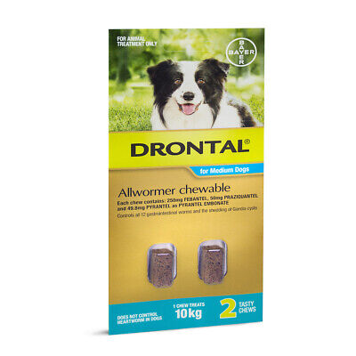 DRONTAL All Wormer Chewable Treatments for Medium Dogs 10kg - 2 Chews