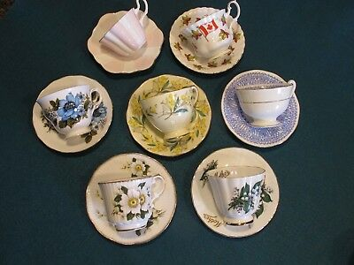 Vintage English Bone China Floral Tea Cups and Saucers Lot of 7