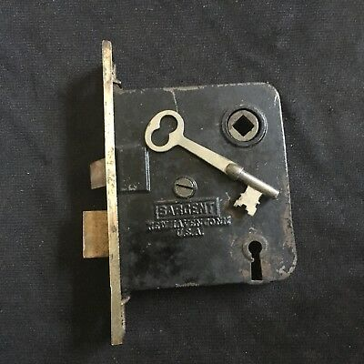 ANTIQUE Sargent w BRASS FACE & Brass Bolts MORTISE LOCK w KEY#8
