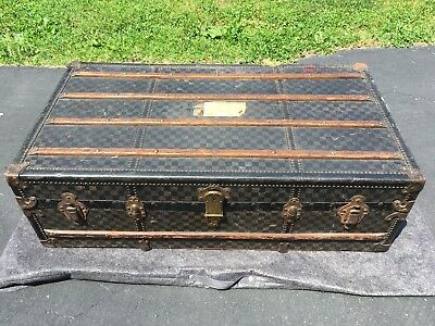 Early 1900's Steamer Trunk Moynat Louis Vuitton Damier Style Checkered Canvas