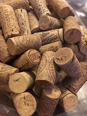 100 used wine corks, all natural, variety of logos