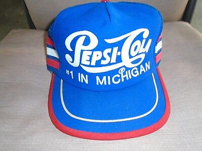 Vintage PEPSI COLA #1 in Michigan Made in USA Trucker Snap Back Hat