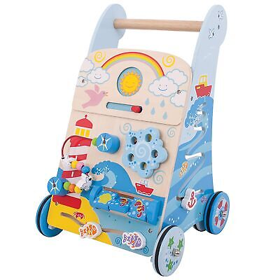 Bigjigs Infant Toys 2 In 1 Wooden Baby Activity Walker - Marine - From 12 Months