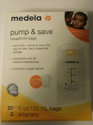 Medela Breastmilk Bags Pump & Save 20 - 5 oz  / 150 mL bags & 2 Adapters