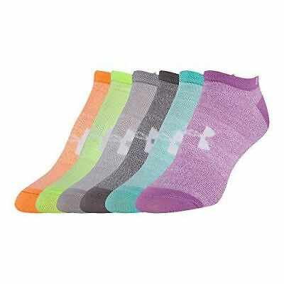 NEW-UNDER-ARMOUR-GIRL'S-NO-SHOW-LINER SOCKS-(6 Pairs)-Assorted Color-Y-LARGE