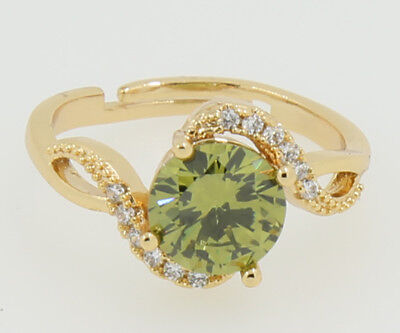 Antique 14KT Gold Filled Peridot Rings Women Jewelry Wedding Bands 6#