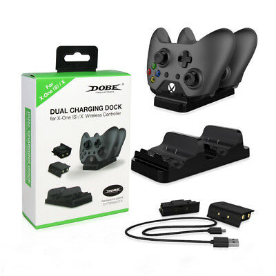 For Xbox One S Dual Charging Dock Controllers Charger w/ 2 Rechargeable Battery
