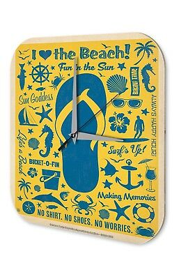 Fun Wall Clock Vintage Decor  I love the Beach Fish anchor sun glasses Acryl Acr