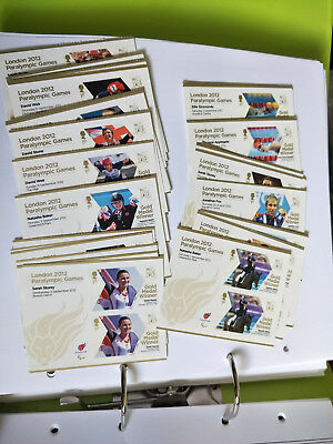 GB Full Set Of 34 London 2012 Paralympic Gold Medal Winner Stamp Pairs 7 photos