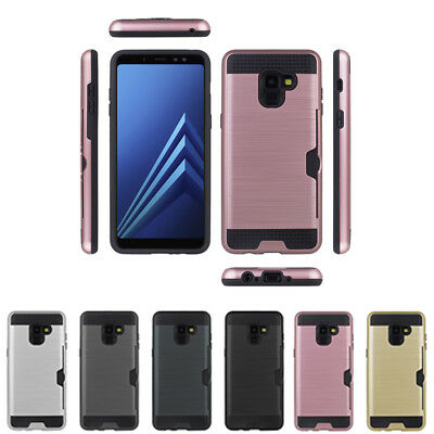 Hybrid Brushed Armor Rubber Card Slot Case Cover for Samsung Galaxy A8 /A8+ 2018
