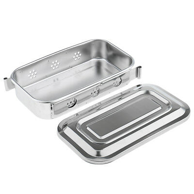 2 Pcs 8'' Stainless Steel Instrument Tray With Lid Dental Storage Box Case