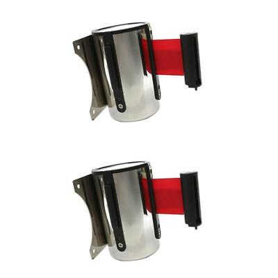 2 Pcs Queue Barriers Crowd Control Stainless Steel 2m Retractable Belt Red