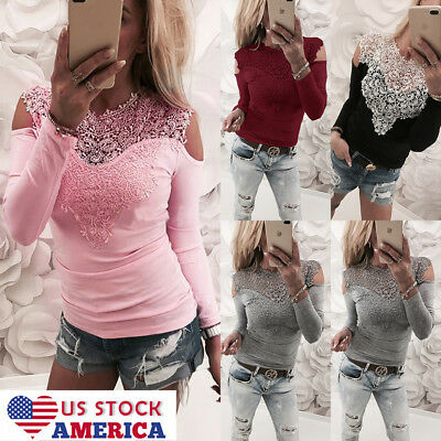 Womens Sexy Lace Cold Shoulder Blouse Casual Long Sleeve Tops T-shirt Tee Shirts