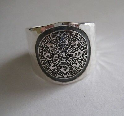 Mexican 925 Silver Taxco Thick AZTEC CALENDAR MAYAN Hammered Unisex Ring Sz  8.5