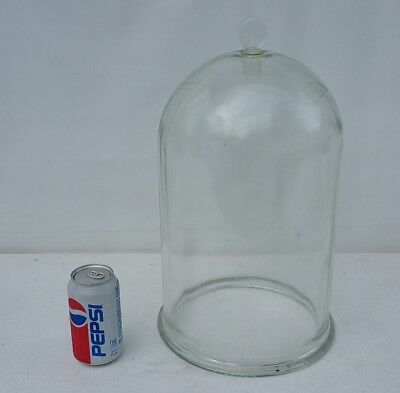 AS-IS   Antique Large Dome Bell Jar Thick Glass Display w/Stopper Lab/Scientific
