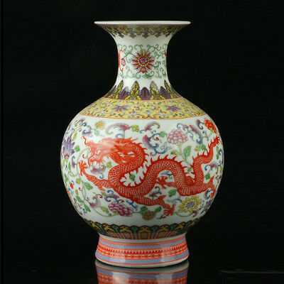 Chinese Porcelain Hand-Painted Dragon Phoenix Vase Mark As The Qianlong Period+a