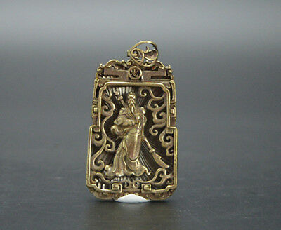 Chinese Seiko Hand Carving Pure Copper Brass Bronze Guan Yu Small Pendant