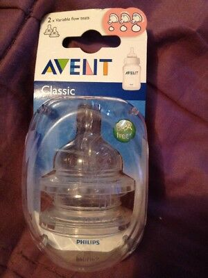 Avent Classic 2 X Variable Flow Teats Freepost (l)