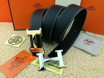 #AUTH Handmade Hermes Black Reversible 110cm/38mm Belt 2H Golden-Sliver Buckle