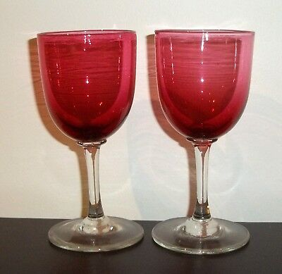 Antique Pair of Cranberry Ruby Stemmed Wine Sherry Glasses Drinking