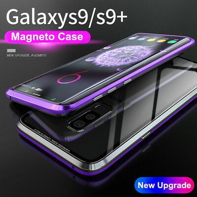 Magnetic Adsorption Metal Case For Samsung Galaxy S9 Luxury Tempered Glass Cover